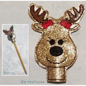 Girl Reindeer Face Pencil Topper